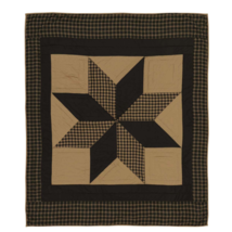2-pc Dakota Star Hand-quilted THROW AND PILLOW Set - Black and Tan - VHC Brands