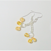 Dangle earrings Yellow mermaid Colored glass handmade fashion Boho earrings - $6.00