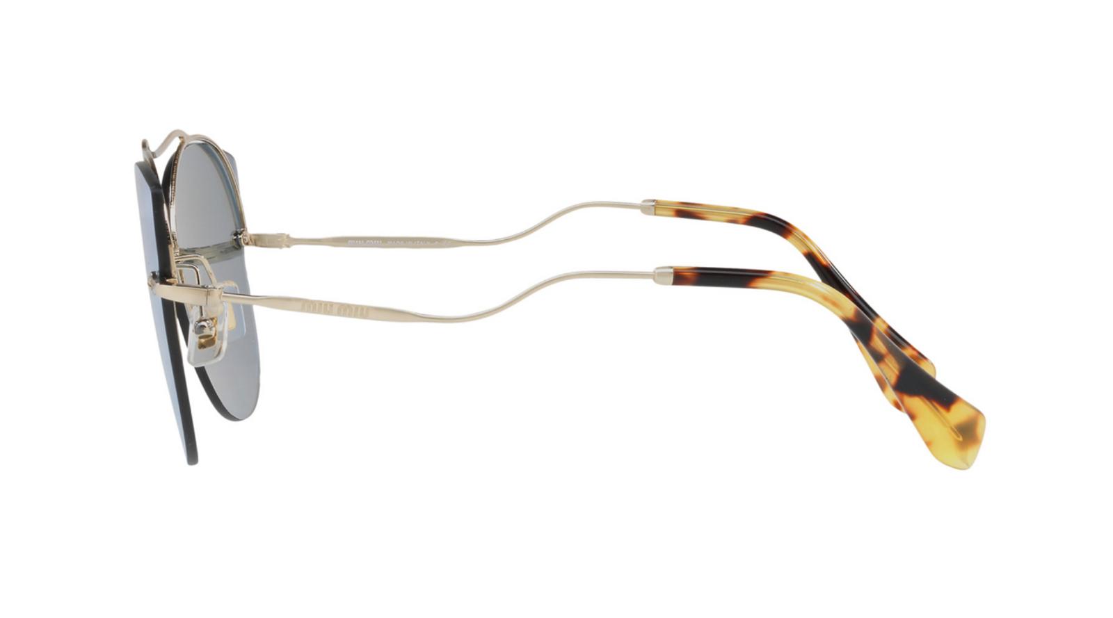 3d462deec3ca5 Miu Miu SMU 52S ZVN-5Q0 Sunglasses Pale Gold Frame Blue Mirror White Lenses  62mm