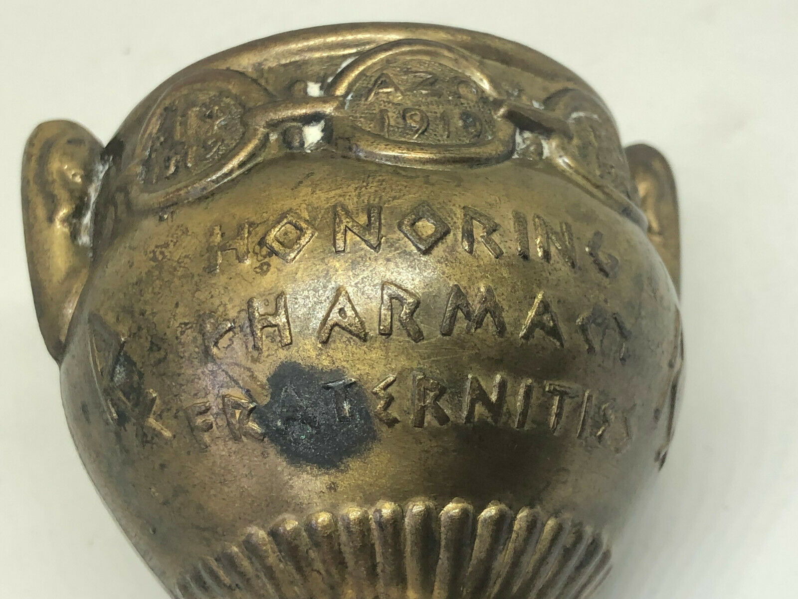 "Antique Vintage Brass Mortar Honoring Pharmacy Fraternities 2.5"" Secumdum Artem"