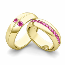 Sterling Silver 925 Yellow Tone Round Cut Pink Sapphire Couple Wedding Ring Set - $99.99
