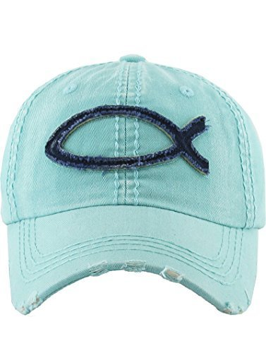 scarlettsbags Vintage Style Distressed Jesus Fish Symbol Christian Hat (Mint)