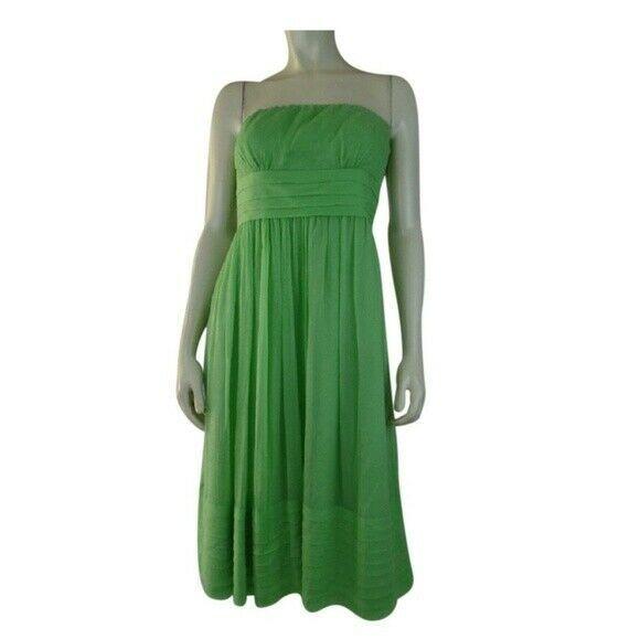 J Crew Strapless Dress 4 Lime Silk Chiffon Pleats Gathered Cummerbund Waist - $58.41