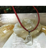 Necklace with Clear Crystal Quartz Pendant Natural Healing Stone Red Sue... - $12.59