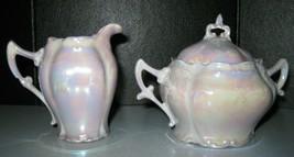 Vintage German Grey Lusterware E K Kruger Opalescence Creamer and Sugar ... - $14.99