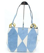 NWT Tory Burch Farrah Patchwork Blue White Suede Tote Shoulder Bag New - $348.00