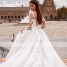 New Elegant Appliques Court Train Princess Bridal Gown Scoop Neck Full Sleeve Tu image 6