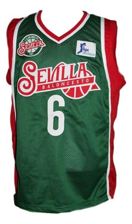 Kristaps porzingis  6 sevilla baloncesto custom basketball jersey green   1