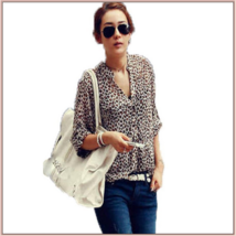 Sheer Chiffon Plus Size Leopard Top Long Sleeve Roll Up Cuff Button Down Shirt image 2