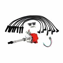 HEI Distributor Red Cap with Black Spark Plug Wires Set Pigtail Wiring Harness