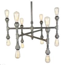 """Industrial Iron 12-Light Chandelier 32"""" Wide, Farmhouse Steel Lamp - $395.00"""