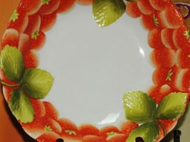 """Large Hand Painted 10.5"""" Bowl Strawberry pattern Vintage Musterschutz Si... - $39.99"""