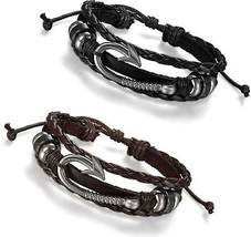 MENDINO Men/'s Women/'s Alloy Leather Bracelet Cord Nautical Rope Wrap Bangle Punk