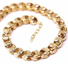 """18K ROSE GOLD CHAIN, BIG ROUNDED DIAMOND CUT OVAL DROPS 6 MM, ROUNDED, 18"""" image 1"""