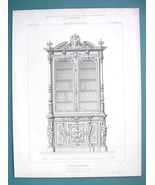 ARCHITECTURE PRINT 1869 - BOOKCASE Carved Wood Exhibited at Paris 1867 Expo - $13.46