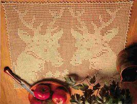 2X Stalwart Stags Deer Wall Hanging & Butterfly Quartet Crochet Doily Pattern - $6.99