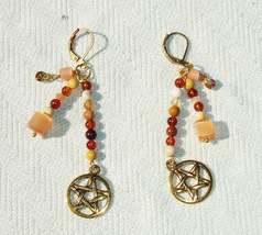 Unique Golden Pentagram Gemstone Dangle Earrings - Lever backs Handmade ... - $16.99