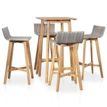 vidaXL Solid Acacia Wood Outdoor Bar Set 5 Pieces Poly Rattan Furniture - $224.99