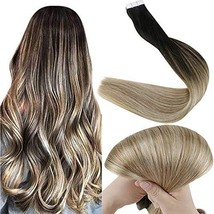 Fshine Tape In Hair Extensions 14 Inch Remy Human Hair Ombre Balayage Color 1B F