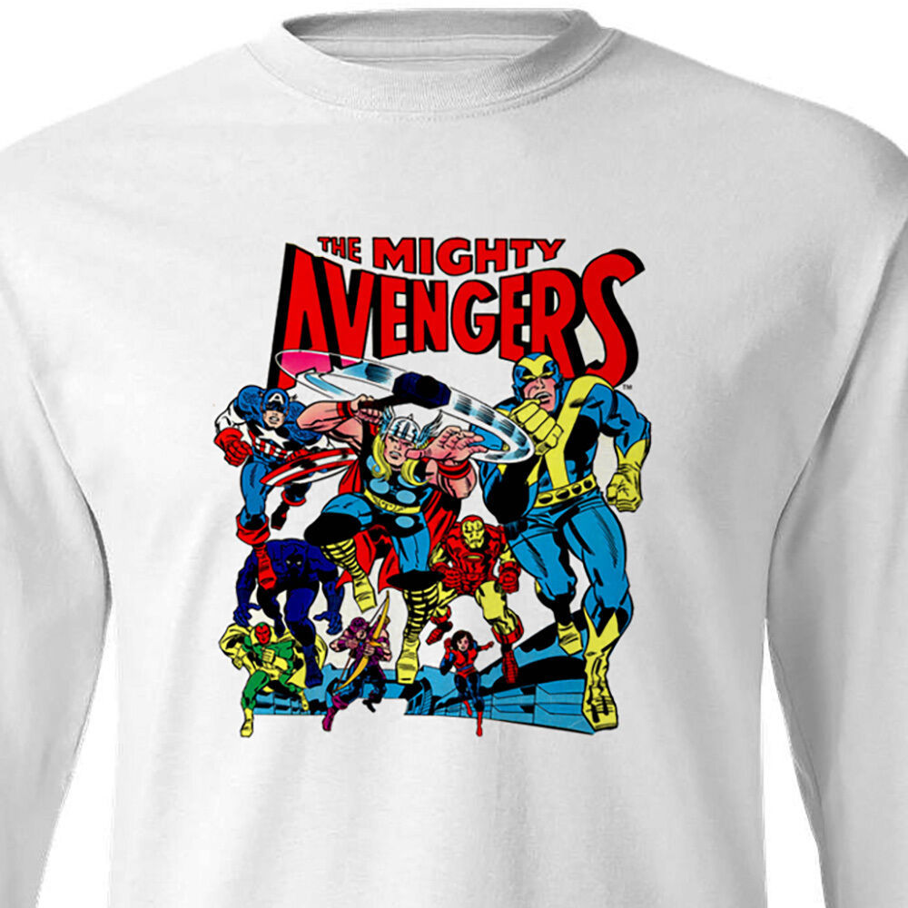 Mighty Avengers Long Sleeve T-shirt Silver Age comics 100% cotton graphic tee