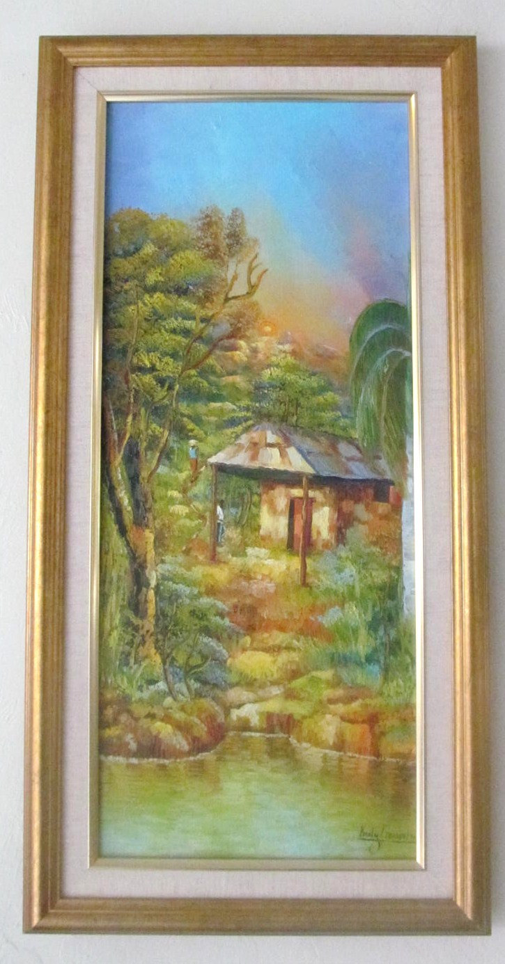 Rare Signed Kerly Gervais Landscape Art Painting Haiti - Listed Artist