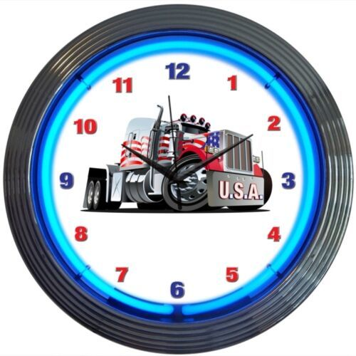 "Primary image for Big Rig Truck USA American Neon Clock 15""x15"""