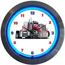 "Big Rig Truck USA American Neon Clock 15""x15"" - $59.00"