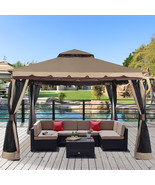 "Outdoor Gazebo Canopy 130"" x 130"" Patio Double Roof Vented Mosquito Nett... - $249.99"