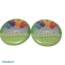 "2 Walt Disney World Florida I'm Celebrating 3"" Button Pin Mickey Minnie ... - $15.52"