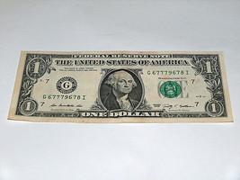 2009 $1 Dollar Bill US Bank Note High # 6 7 8 9 3-7s 67779678 Fancy Mone... - $13.78