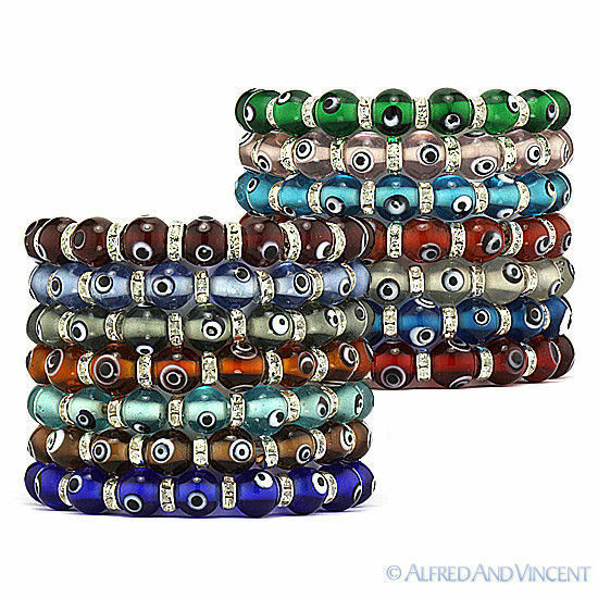 Primary image for Evil Eye 10mm Turkish Nazar Greek Hamsa Kabbalah Beaded Stretch Bracelet - Clear