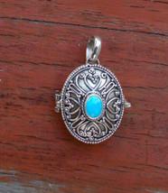 Hand-tooled Silver Turquoise Locket Pendant - $33.26