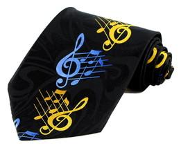 G Clefs Mens Music Neck Tie Novelty Musician Gift Score Notes Black Neck... - $14.95