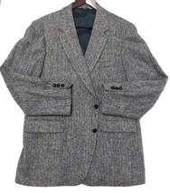 Harris Tweed Blazer Jacket Men Handwoven Pure Scottish Wool Tailored in USA - $24.88