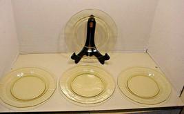 Fostoria Fairfax Luncheon Plates Yellow TOPAZ set of 4 Very Nice - $24.26