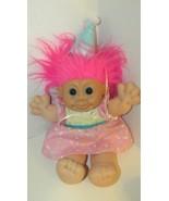 Russ Berrie troll doll Pink hair dress Happy Birthday hat plush doll  - $9.89