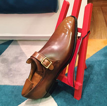 Handmade Men's Brown Leather Monk Strap Shoes image 3