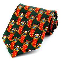 Teddy Bear Stocking Men's Necktie Christmas Santa Hat Holiday Green Neck... - $15.79