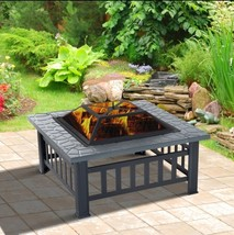 Steel Square Outdoor Patio Wood Burning Fire Pit Table Top Set - $189.90