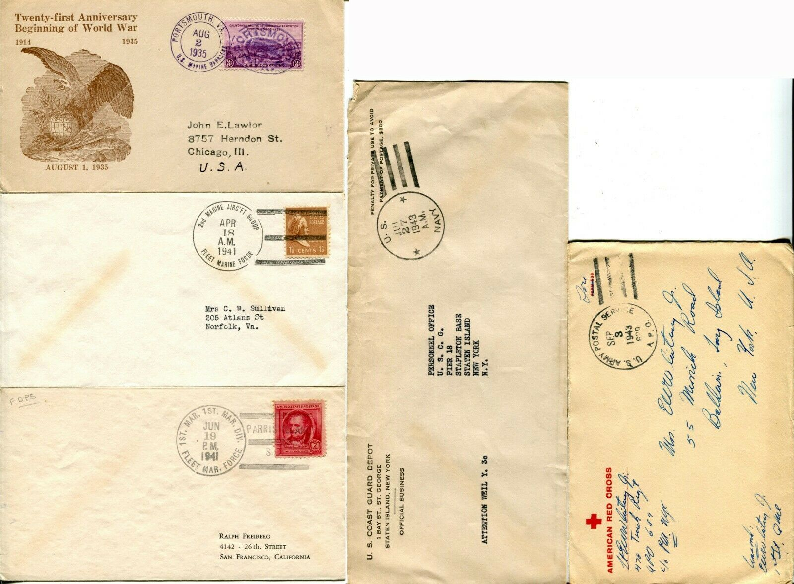 Marine US Army American Red Cross WWII Navy Military Cover Postage Collection