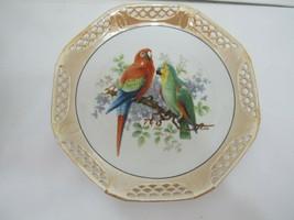 Vintage Schwarzenhammer Bavaria Germany Pierced Porcelain Plate Parrots ... - $12.82