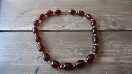 "Antique Cherry Amber Bakelite Gold Bead Necklace 19"" x 13mm - $98.99"