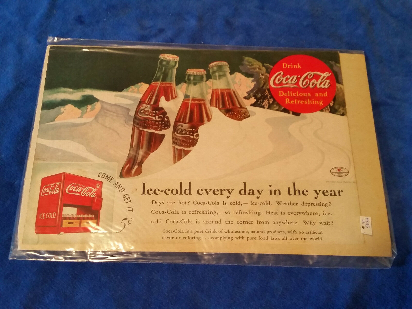 "Primary image for 1935 Origianl Coca Cola Magazine ad Ice Cold Bottles 6 3/4""x10"""