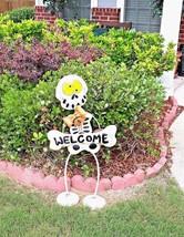 Halloween decor Metal Skeleton statue Welcome Sign Custom on Springs Fol... - $148.45