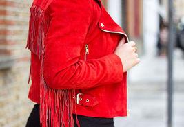 QASTAN WOMEN'S NEW SHORT BODY RED WESTERN FRINGE SUEDE LEATHER JACKET WWJ87 image 4