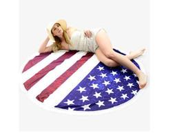 American Flag Round Beach Throw Tassel Beach Towel, Wrap, Rug 329461 - $25.84 CAD