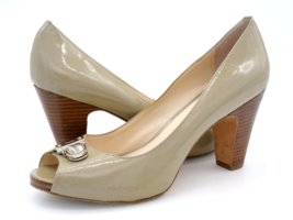 Coach Womens 8.5B Olive Leather Peep Toe Slip On High Cone Heels Pumps Shoes - $29.99