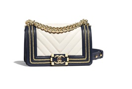 100% AUTHENTIC CHANEL 2019 WHITE NAVY CHEVRON CALFSKIN SMALL BOY FLAP BAG GHW