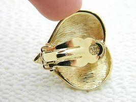 VTG GIVENCHY Paris New York Gold Tone Rhinestone Heart Clip Earrings image 3