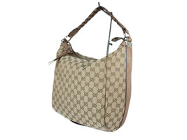 GUCCI GG Pattern Canvas Leather Bamboo Browns Shoulder Bag GS2183 - $349.00
